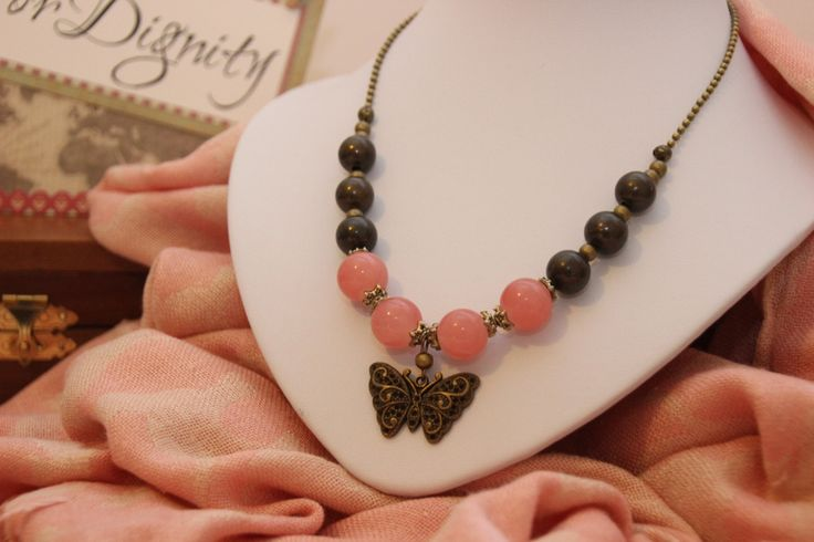 Bronze Garden collection; Classy salmon and bronze beaded necklace with filigree butterfly pendant by 4Dignity on Etsy