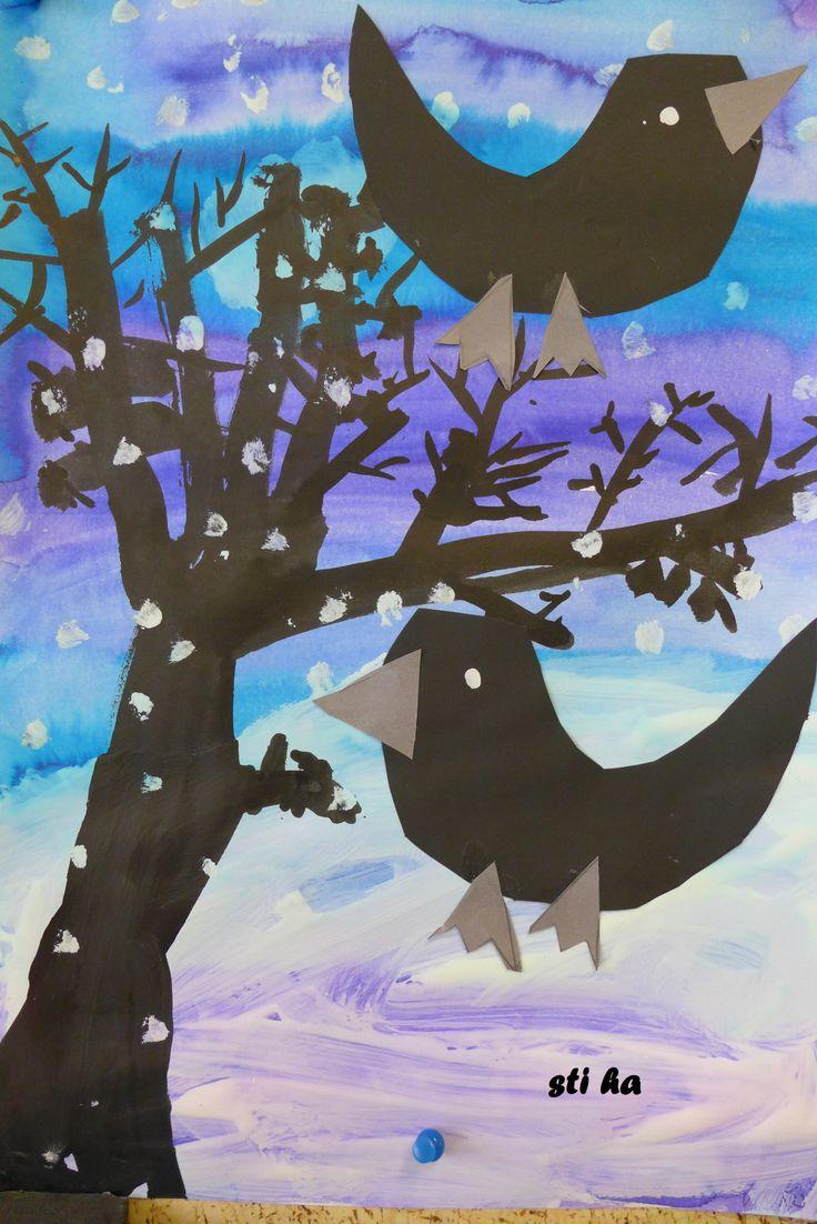 Zimní krajina - pozadí anylinky, sníh - tempery, strom - tuš
