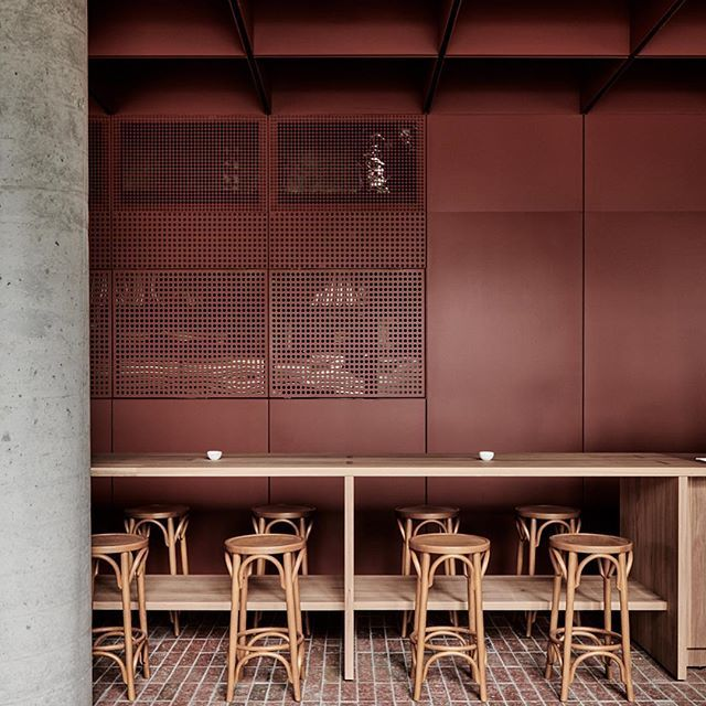 RITZ&GHOUGASSIAN Primed steel and concrete. A subtle play on tones and textures. Photo @blachford - - - - - - #architecture #interiordesign #hospitalitydesign #light #shadow #Primed #steel #concrete #bricks #melbournecafe #melbournecoffee #thonet