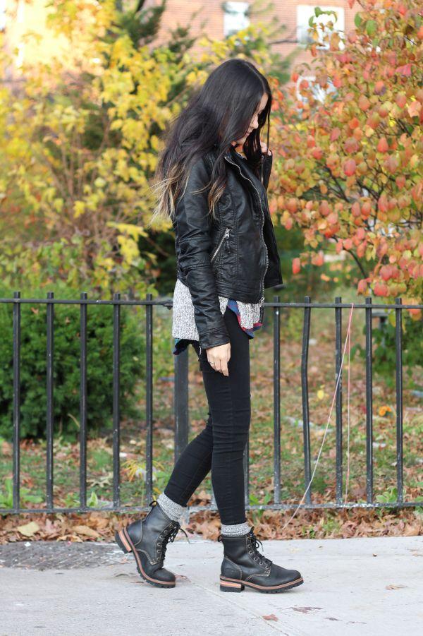 Dress Like Jess: Change Is in the Air www.dresslikejess.us/2014/11/change-is-in-the-air.html @abercrombie1892 vegan leather Tatum jacket, gray sweater, flannel, camp socks @pacsun jeans & @skechers laramie 2 logger boots