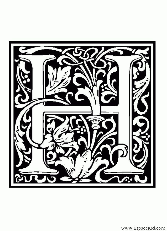 Coloriage lettre h coloriages lettrine letter - Dessin moyen age ...