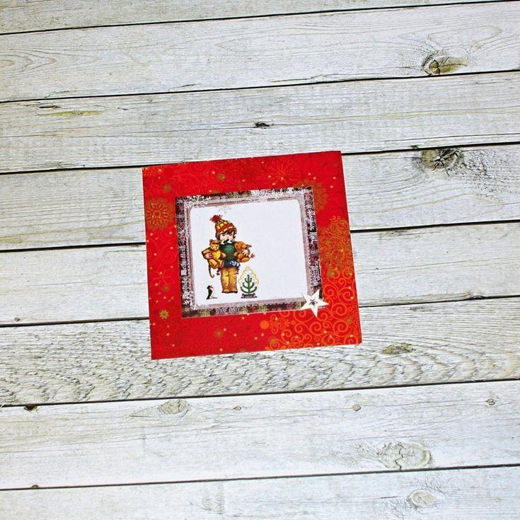 Přání+v+červené+Ručně+vyráběné+papírové+přání+na+bílémčtvercovém+základu.+Velikost+cca13,5+x+15,5+cm.+Uvnitř+čisté+bez+textu,+dodáno+s+bílou+obálkou.