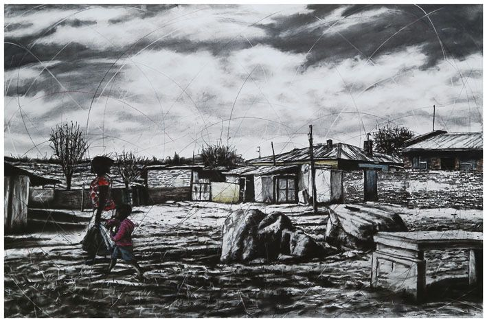 An original work by Phillemon Hlungwani entitled: Makwavo a hi kongomi ekaya, vatshwari va hi rindzini. ALEX (Younger brother, we are going home. Our parents are waiting for us) mixed media on paper 151 x 225cm. For more please visit www.finearts.co.za