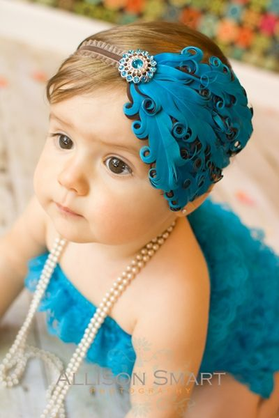 Old Hollywood Feather Headband Turquoise and Chocolate