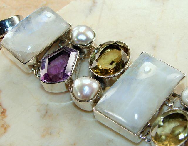 Rainbow Moonstone With Multi Gemstone Silver Bracelet : Moonstone Bracelet