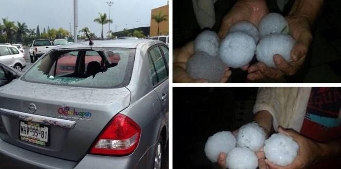 4-28-2014: Giant hail in Xalapa, Mexico. Source: InfoMeteoTuit (@InfoMeteoTuit on Twitter)