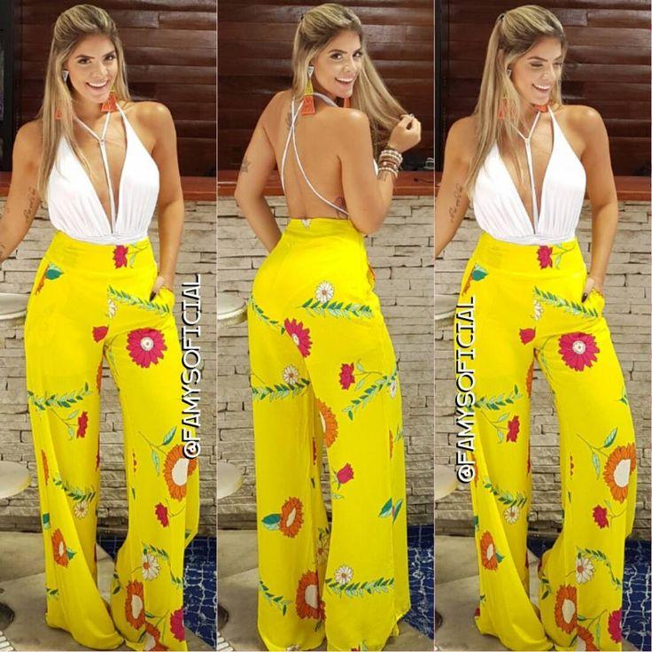 Pantalona amarela estampada FA8889