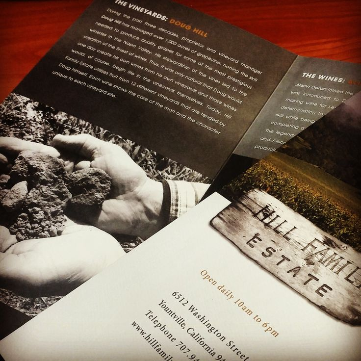 Awesome brochure printed for Hill Family Estates tasting room discussing the wine, vineyard and people. #hillfamilyestate #brochure #businessprinting #offsetprinting