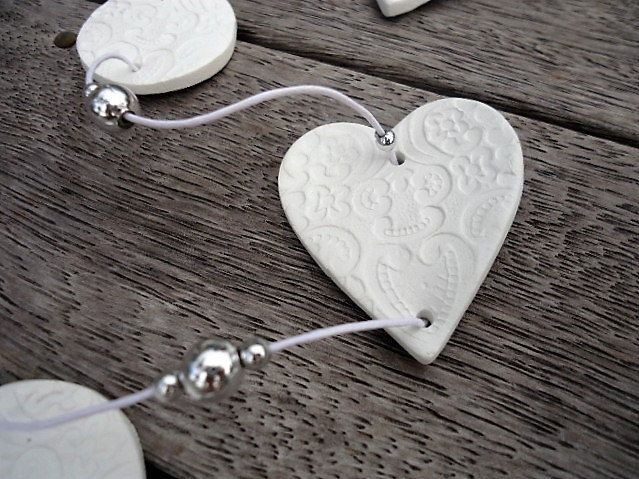 Clay embossed Heart Garland by MYMIMISTAR on Etsy