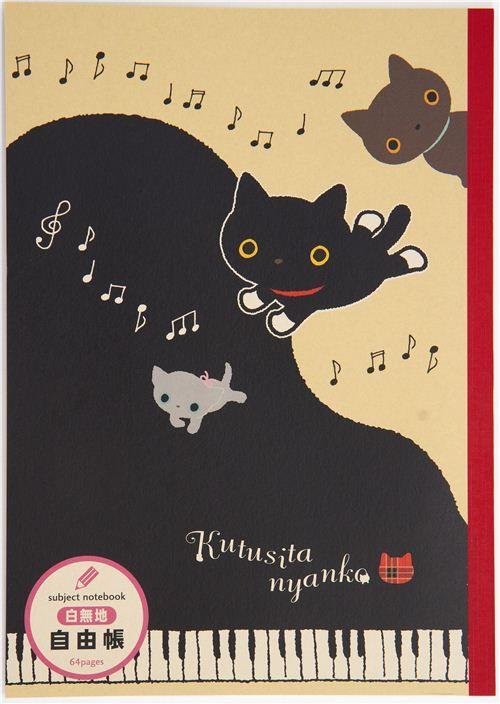 Kutusita Nyanko Notepad drawing book with cats & piano