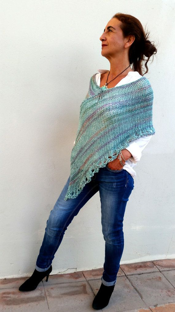 Green mint top mint poncho sweater loose knitting by EstherTg