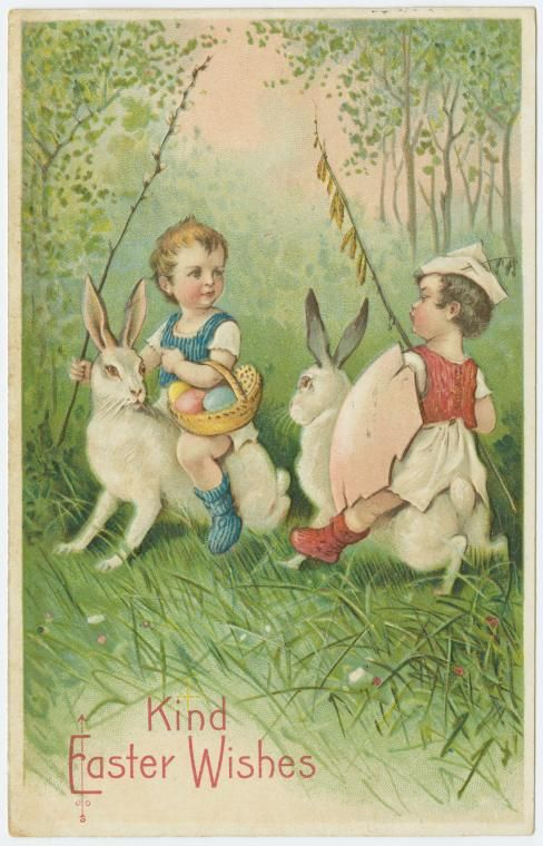 Kind Easter wishes. From New York Public Library Digital Collections.