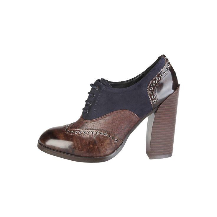 Versace 1969 - Arlette  Colección Otoño-Invierno - Zapatos con cordones para mujeres - Empeine: eco-cuero cepillado y coco con inserciones de eco-gamuza - Interior: material sintético - Suela: tunit - Tacón 10 cm (Fall-Winter collection- Lace-up shoes for women- Upper: eco-leather brushed and coconut with eco-suede inserts- Interior: synthetic material- Sole: tunit- Heel 10 cm)