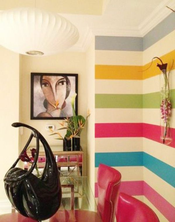 esszimmer design mit bunter wandgestaltung und einem extravagantem gemälden - 62 kreative Wände streichen Ideen – interessante Techniken