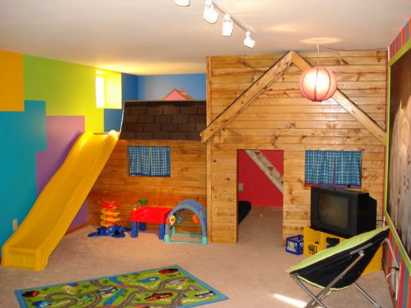 Place To Be A Kid!, Brightly Decorated Playroom Comes Complete With Two  Level Playhouse · Basement IdeasKids ...