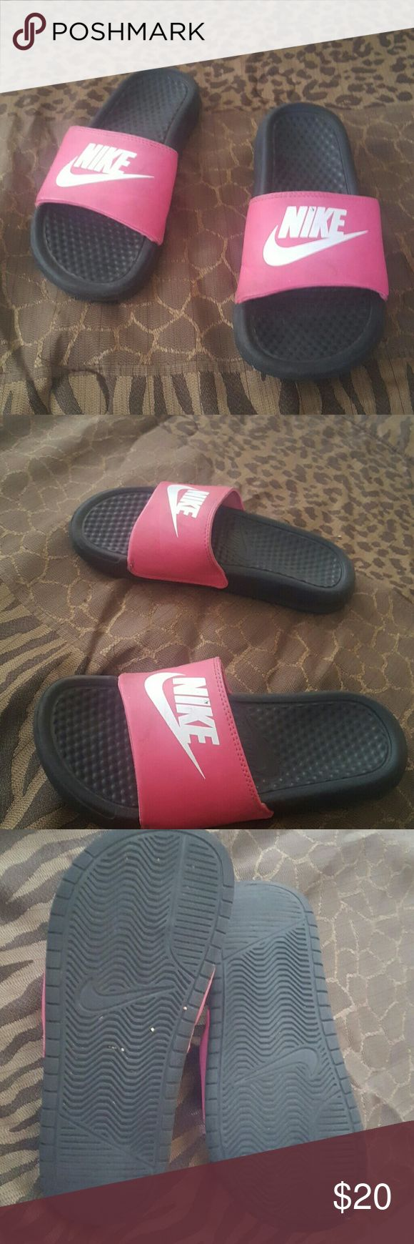 Nike Sandals Nike sandals. A fair condition, a lot of life in them still. Now these are a size US 4y, might fit a size 7 or 7 1/2 in regular women size. Nike Shoes Sandals