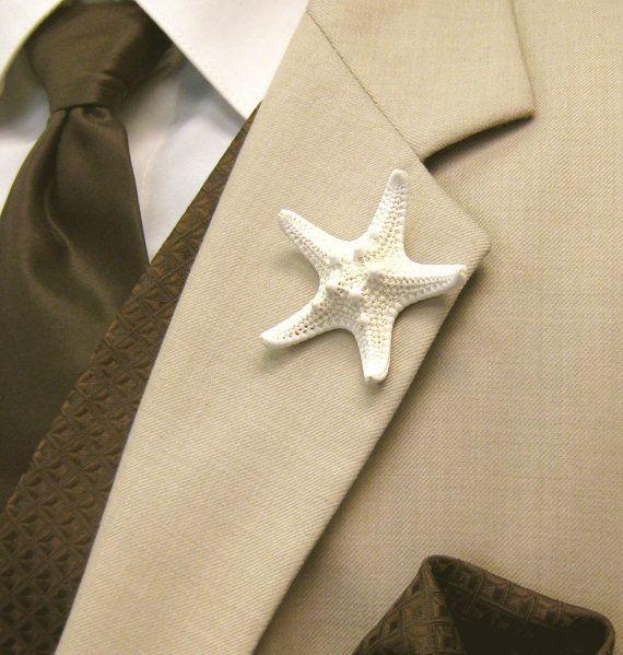 Very cool beach wedding idea!    Beach Wedding Starfish Boutonniere Dress Pin by SeashellCollection, $7.00
