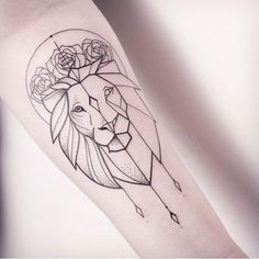 Image result for geometric lion tattoo