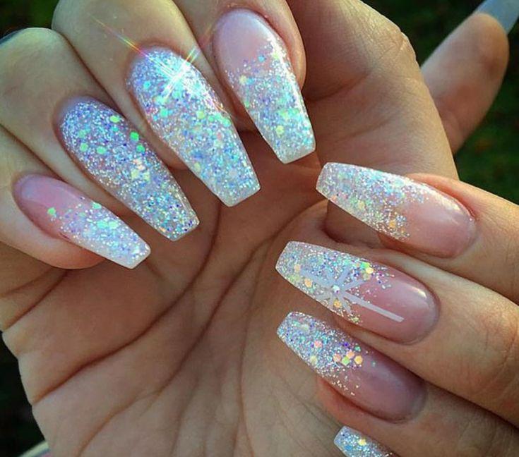 silver glitter acrylic nails | Tumblr | Bridal nails