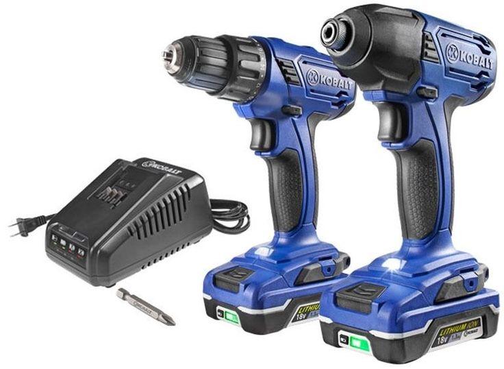 Kobalt 2-Tool 18-Volt Lithium Ion Cordless Power Drill Impact Driver Combo Kit #Kobalt