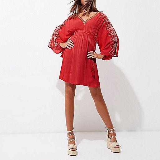Red embroidered kaftan dress - swing dresses - dresses - women