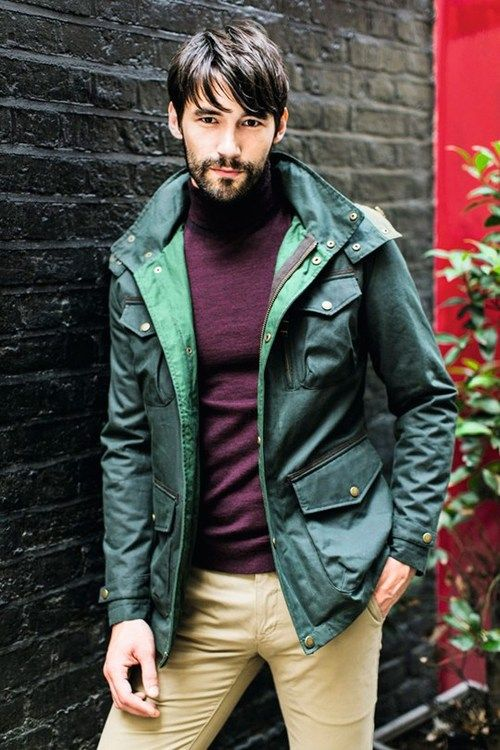 songdau:  Trending Now: Key Colour —— Wax Lyrical  Experimenting with different textures is similarly rewarding: offset your outdoorsy Boden jacket with asoft wool roll neck.  Jacket byBoden, £169.boden.co.uk. Rollneck byTed Baker, £79. At House of Fraser.houseoffraser.co.uk. Chinos byTed Baker, £79. At House of Fraser.houseoffraser.co.uk