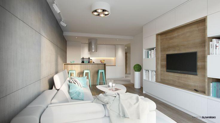 Kitchen - modern kitchen in teh small flat ; Living room;  interior designer,architect Marcin Śliwiński Poland;  Source: https://www.facebook.com/architectmarcinsliwinski?fref=ts