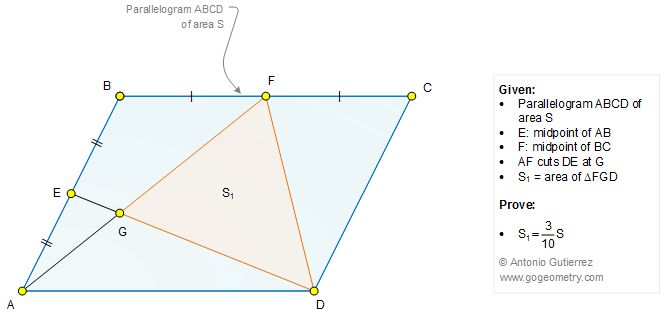 Geometry Problem 1279: Parallelogram, Midpoint, Triangle, Area, 3/10