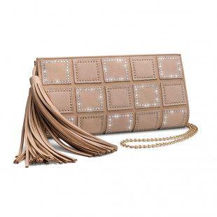 Oliver Weber Women luxury elegant style queen suede leather handbag beige with Swarovski Crystals