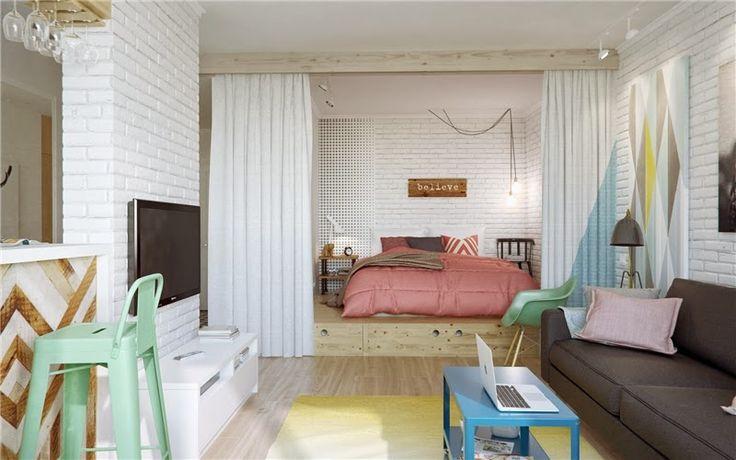 Scandinavisch interieur in klein appartement