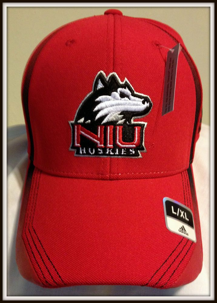 NORTHERN ILLINOIS HUSKIES ADIDAS CLIMALITE EMBROIDERED ADULT L/XL FOOTBALL CAP #adidas #NorthernIllinoisHuskies
