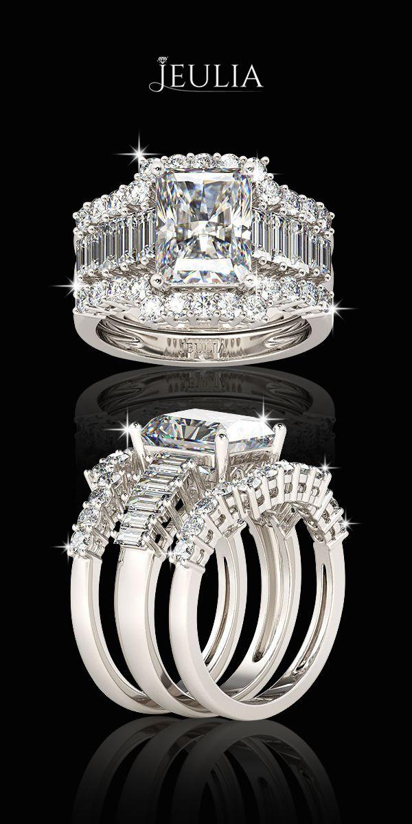 3PC Emerald Cut Sterling Silver Women's Ring #Jeulia