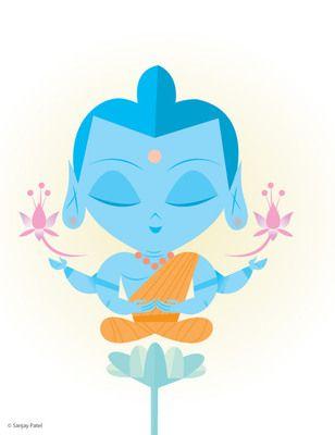 Buddha, Vishnu's Avatars Exhibition: Brooklyn Museum, 2011, Illustration by Sanjay Patel