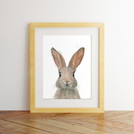 Rabbit print watercolor rabbit Woodland animals Printable