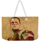 Tom Brady New England Patriots Quarterback Watercolor Portrait On Distressed Worn Canvas Weekender Tote Bag by Design Turnpike