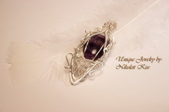 Handmade Unique Silver Plated Wire Wrapped Amethyst Pendant
