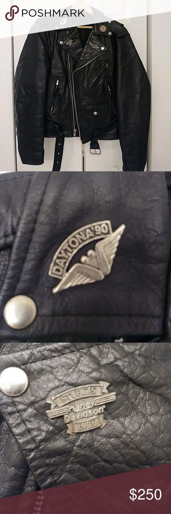 Vintage Motorcycle Jacket w/Harley & Sturgis Pins Thick