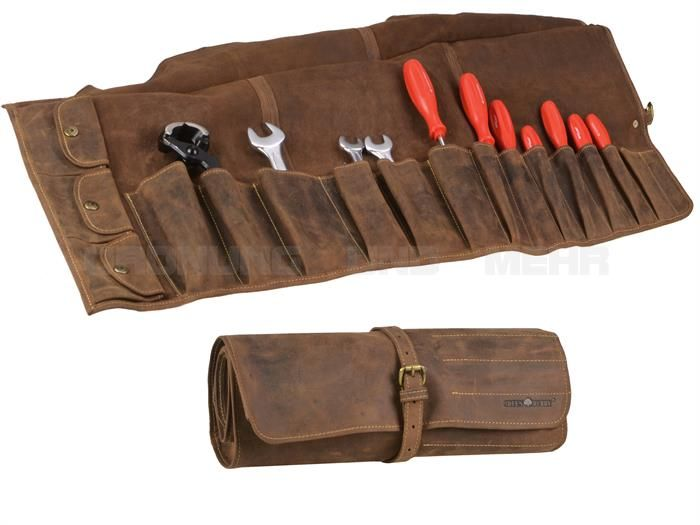 Tool Roll Leather Greenburry VINTAGE - Leder Werkzeugrolle Werkzeugtasche Rolltasche Leer - antikbraun