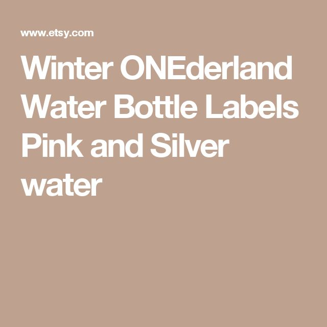 Winter ONEderland Water Bottle Labels Pink and Silver water