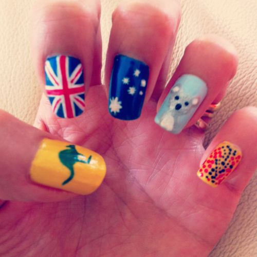 28 best australia day nails images on pinterest australia day 27 awesome nail art designs for australia day prinsesfo Images
