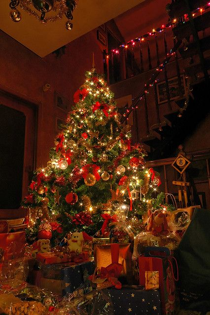 Standing in a room with christmas music softly playing in the background, the lights dimmed, and the tree lit. One of my favorite holiday moments. <3