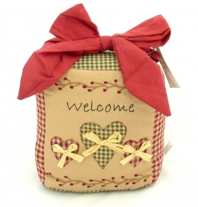 Shabby Chic Welcome Heart Fabric Doorstop