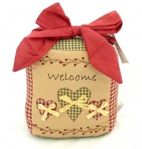 Shabby Chic Welcome Heart Fabric Doorstop