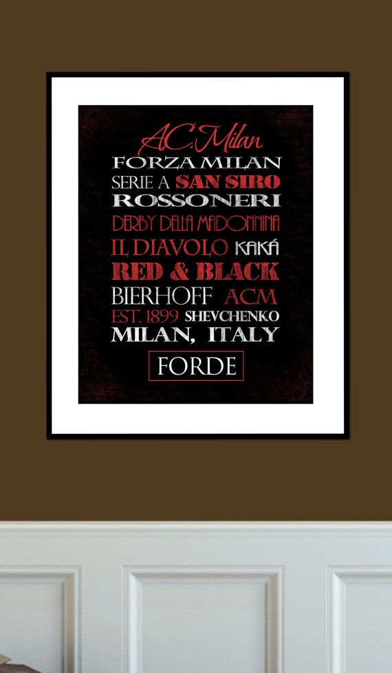 A.C. Milan Print by SportingStandouts on Etsy FORZA MILAN!