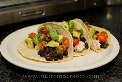Tilapia Tacos w/ Black Beans & Fresh Avocado Salsa