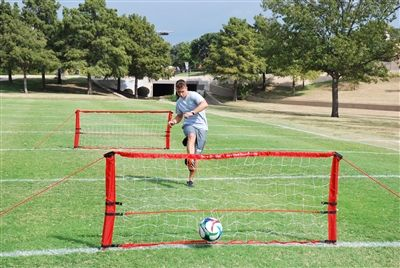 The Soccer Sling Shot TM is a cutting edge soccer training rebounder. Unlike any other soccer rebounder, the Soccer Sling Shot TM returns the soccer ball at ground level. Now you can master your soccer passing and receiving alone!