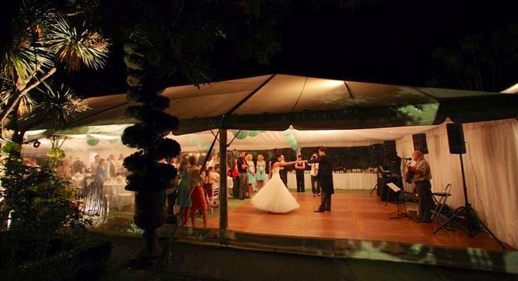 First dance photo, from the outside of the marquee.