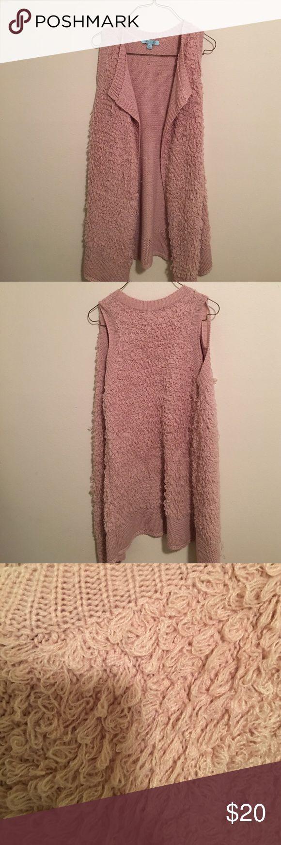 Knit Pink Vest Long, knit, pink, vest. Size: small. Very warm. Worn once - like new! She and Sky Jackets & Coats Vests