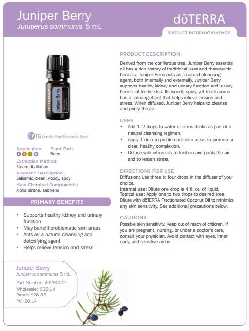 Derived from the coniferous tree, Juniper Berry essential oil has a rich history of traditional uses and therapeutic benefits. Description from mynaturalfamily.com. I searched for this on bing.com/images