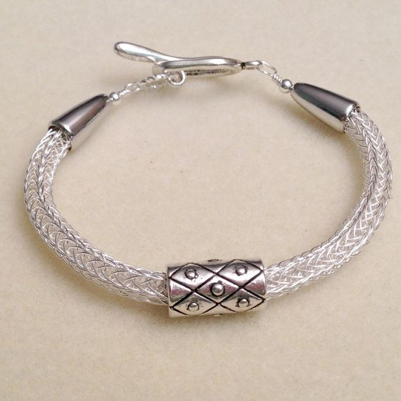 Silver viking knit woven chain bracelet by DonnaDStore on Etsy, $28.00